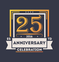 anniversary celebration logo 25 years label vector image