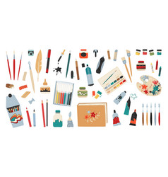 Art accessories artist painting tools and drawing vector
