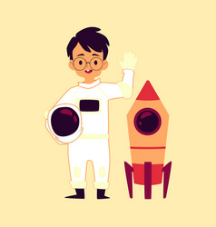 astronaut child boy with space rocket flat cartoon vector image