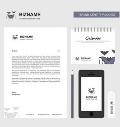 bat business letterhead calendar 2019 and mobile vector image