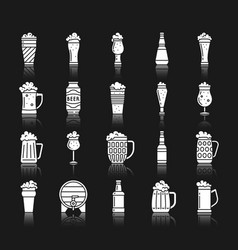 Beer mug white silhouette icons set vector