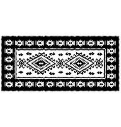 Black oriental mosaic rug with traditional folk vector