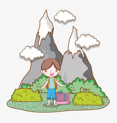 boy with baggage in the ice mountains with clouds vector image