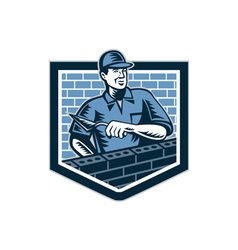 Brick Layer Mason Masonry Worker Retro vector