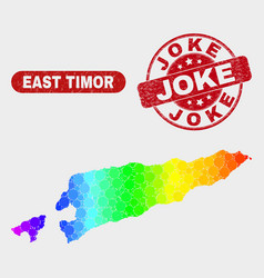 bright mosaic east timor map and scratched joke vector image