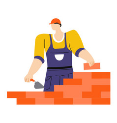 building or construction works worker with putty vector image