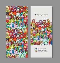 business cards set matryoshka russian nesting vector image