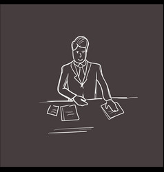 business man hold paper documents sign up vector image