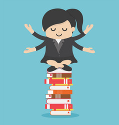 businesswoman meditate on stack books vector image