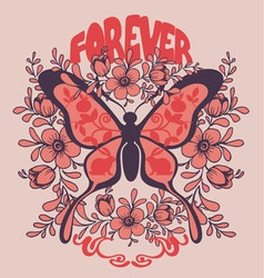 butterfly and flowers print vector image