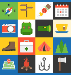 camping icons flat design vector image