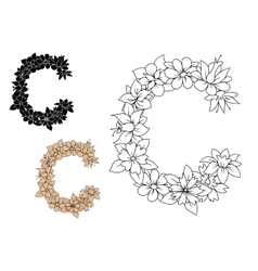 Capital letter C with vintage flowers vector