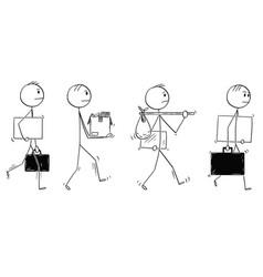 cartoon men or businessmen leaving or moving vector image