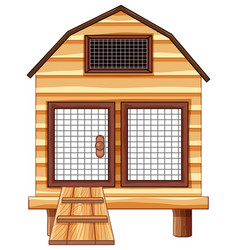 Chicken coop made of wood vector