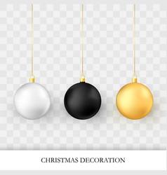 christmas decorations realistic glossy xmas vector image