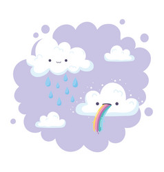 clouds with rainbow tongue and rain drops cartoon vector image