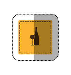 Color emblem wine bottle with glass icon vector