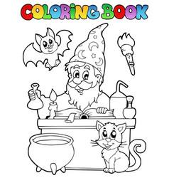 coloring book alchemist theme 1 vector image