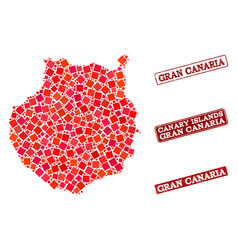 Composition of red mosaic map of gran canaria and vector