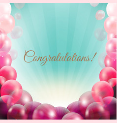 Congratulations card with pink balloons frame vector