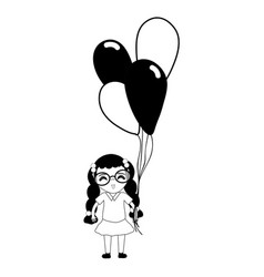 Contour pretty girl with hairstyle and balloons vector