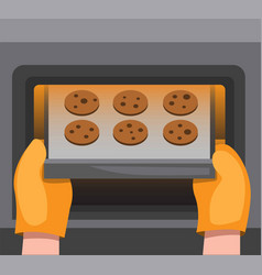 cookies on oven making homemade vector image