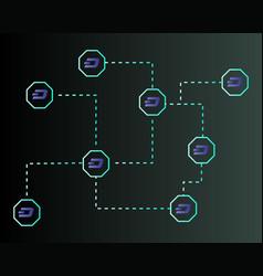 dash blockchain technology on dark background vector image
