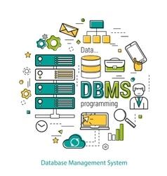 DBMS - line art concept vector image