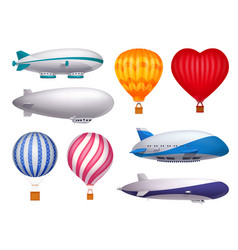 Dirigible and balloons realistic set vector