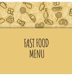 Fast food menu Set of cartoon background vector image
