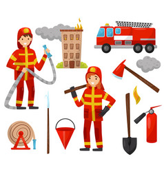 Fireman and firefighting equipment set truck vector