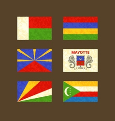 Flags of Madagascar Reunion Seychelles Mauritius vector image