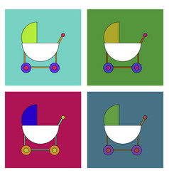 Flat icon design collection baby carriage vector