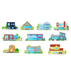 Flat icons home house villa mansion and cottage vector