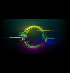 Futuristic glitch circle in cyberpunk style vector