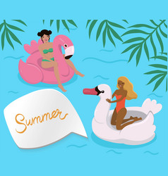 girls in pool on inflatable flamingos vector image