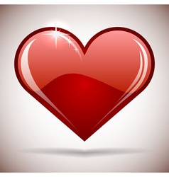 Glossy red heart icon vector image vector image