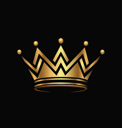 Golden crown logo abstract design vector