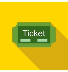 Green ticket icon in flat style vector image