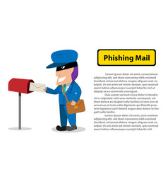Hacker send a phishing mail to victim vector