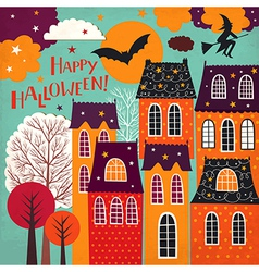 Halloween holiday card vector image