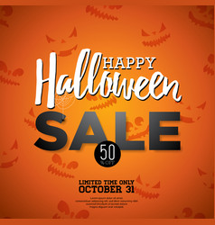 Halloween sale with holiday elements on orange vector