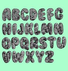 hand drawn doodle font set sketch alphabet vector image