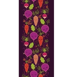 Happy root vegetables vertical seamless pattern vector