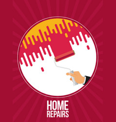 Home repairs with roller flat vector