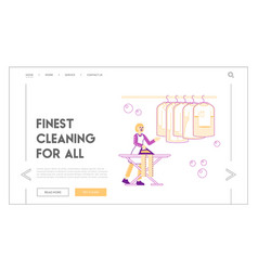 housewife or maid in laundrette landing page vector image