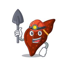 Human cirrhosis liver miner cartoon design vector