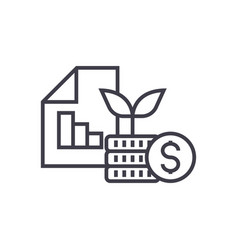 Investment portfolio line icon sign vector