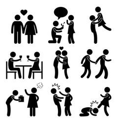 Lover couple love proposal hug angry slap kick vector