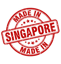 made in singapore red grunge round stamp vector image